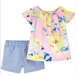 12M - NWT - Blue lined short and flower top